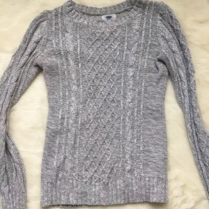 Old Navy cable knit sweater, gray, extra small